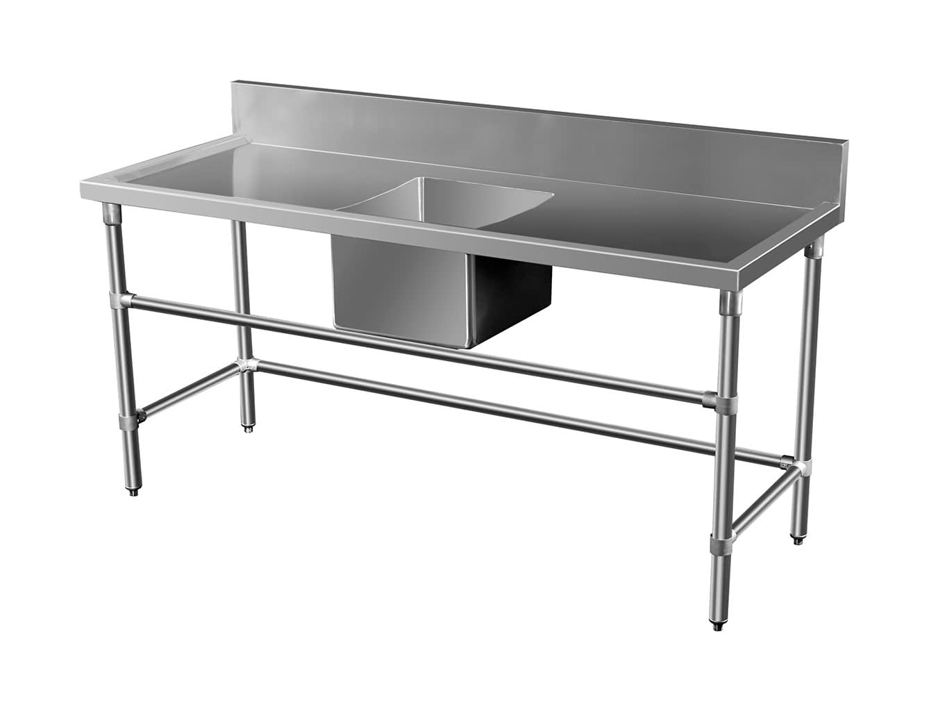 Stainless Steel Catering Sink – Right And Left Bench, 1500 x 700 x 900mm high