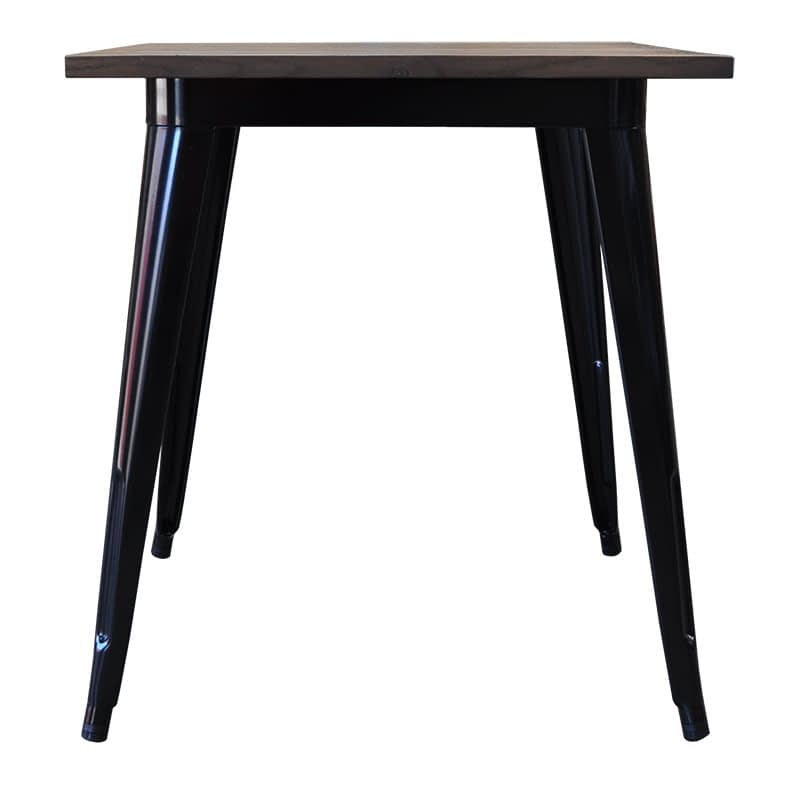 Replica Tolix Wooden Top Table, 70 x 70 x 75cm high, Black Legs.