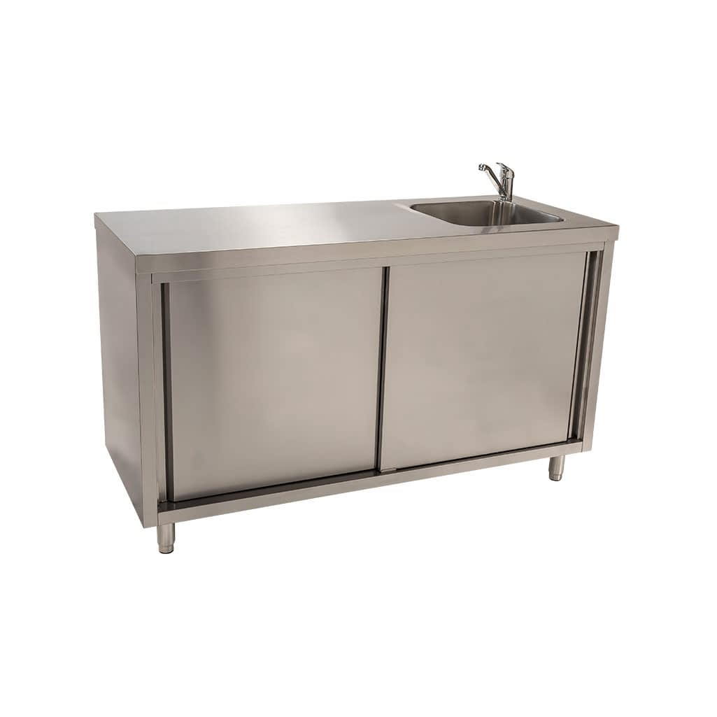 Stainless Steel Cabinet with fully integrated sink on right. 1500 x 610 x 900mm high