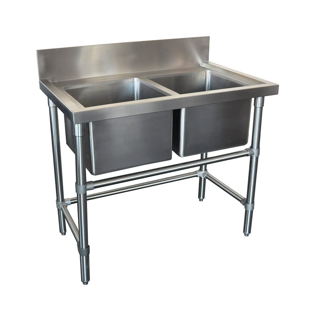 Double Stainless Steel Kitchen Sink, 1000 x 610 x 900mm high