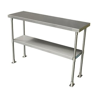 Stainless Kitchen Bench Over Shelves, 2-Tier, 1150 X 350mm-0