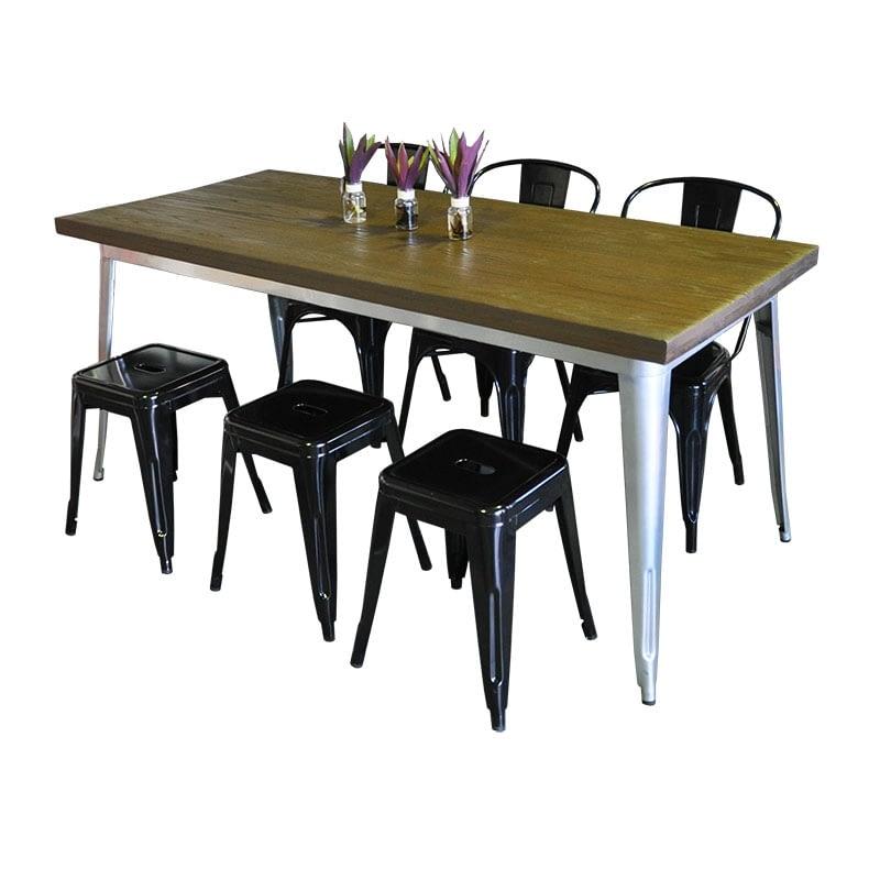 Replica Tolix Wooden Top Table, 180 x 80 x 75cm high, Silver Legs.