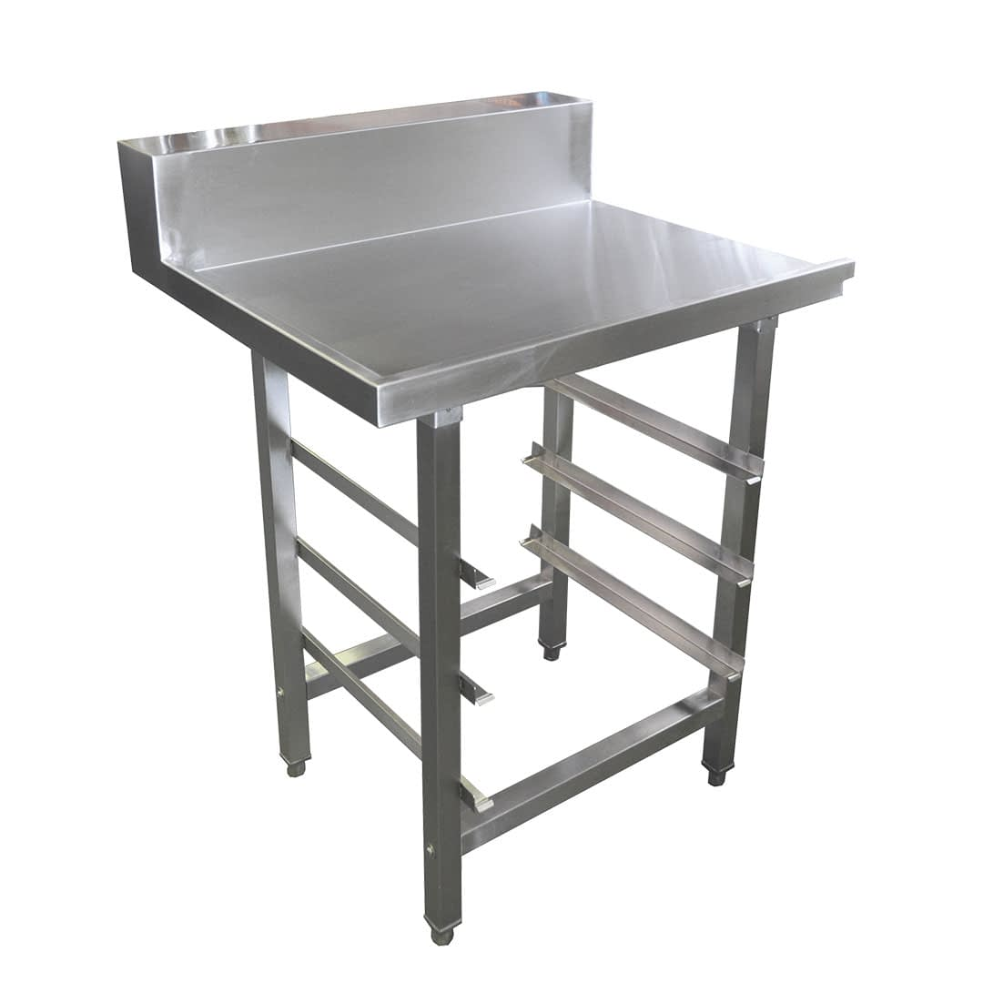 Stainless Dishwasher Outlet Bench, with Undershelves, Right Outlet, 800 x 700 x 900mm high