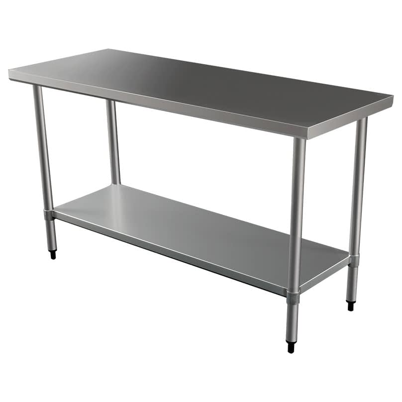 Commercial Grade Stainless Steel Flat Bench, 1524 x 610 x 900mm high