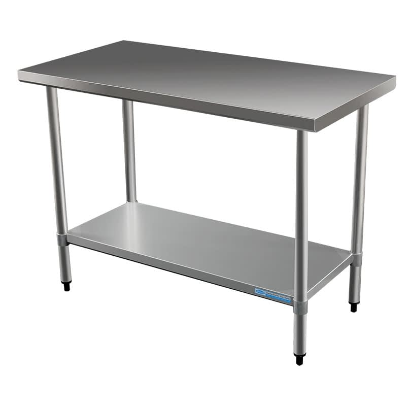 Commercial Grade Stainless Steel Flat Bench, 1219 x 610 x 900mm high