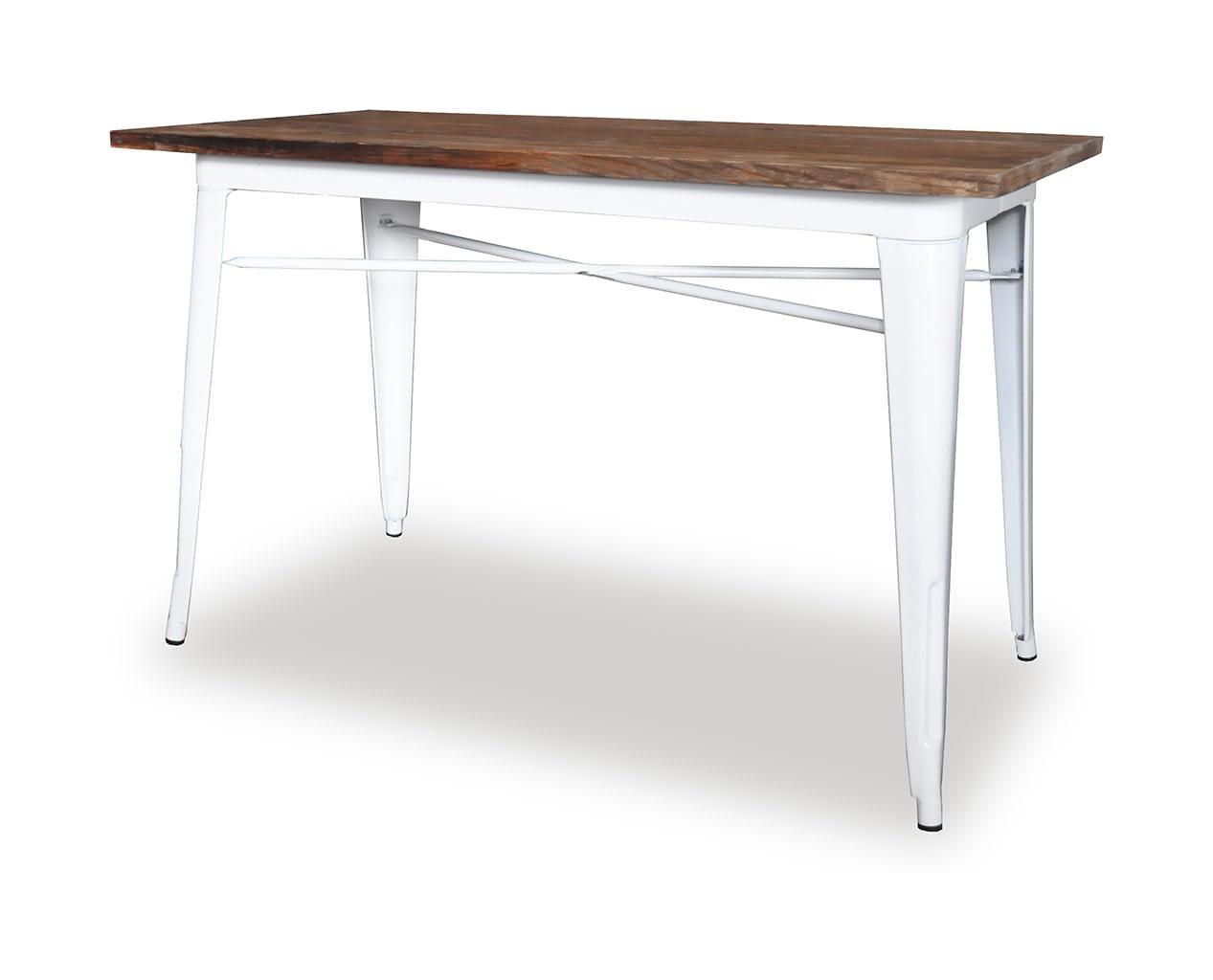 Replica Tolix Wooden Top Table, 120 x 60 x 75cm high, White Legs.