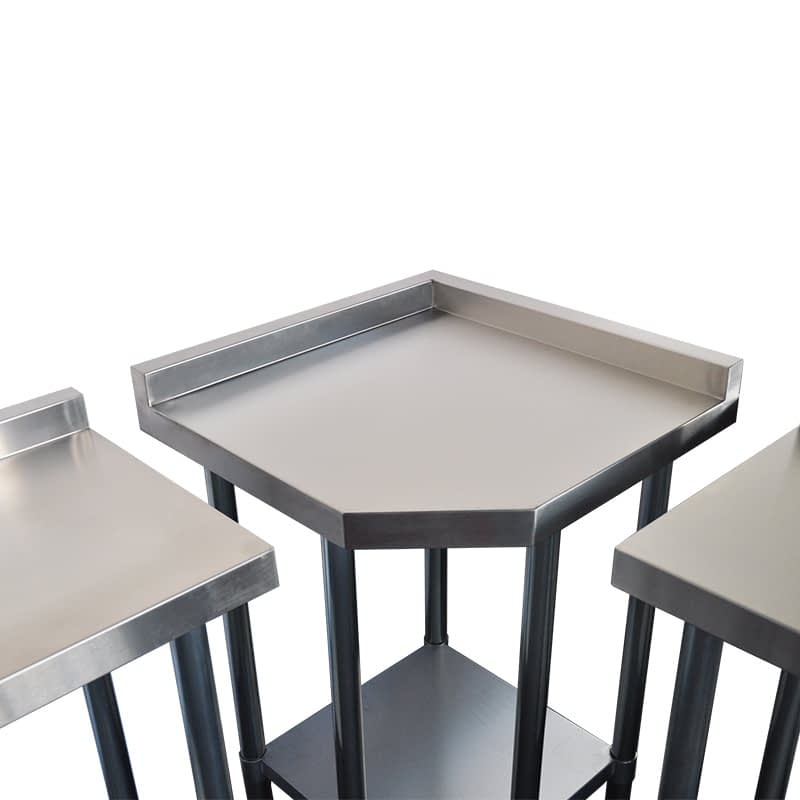 Commercial Grade Stainless Steel Narrow Corner Bench, 600/450 X 600/450 x 900mm high