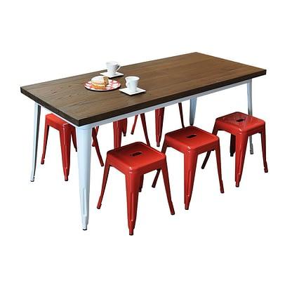 Replica Tolix Wooden Top Table, 180 x 80 x 75cm high, White Legs.