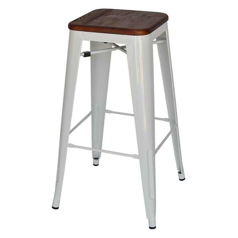 Replica Tolix Bar Stool with Timber Seat (Walnut Finish), 76cm – 4 colours
