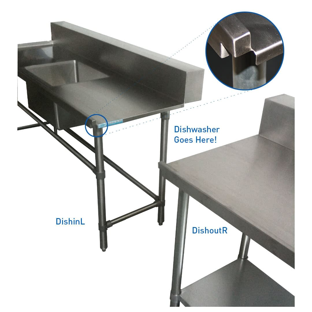 Stainless Dishwasher Outlet Bench, Left Outlet, 800 x 700 x 900mm high