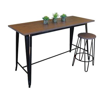 Replica Tolix Wooden Top Table, 152 x 60 x 91cm high, Black Legs.