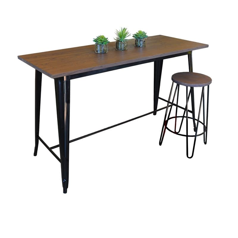 Replica Tolix Wooden Top Counter Height Table, 152 x 60 x 91cm high, Black Legs.
