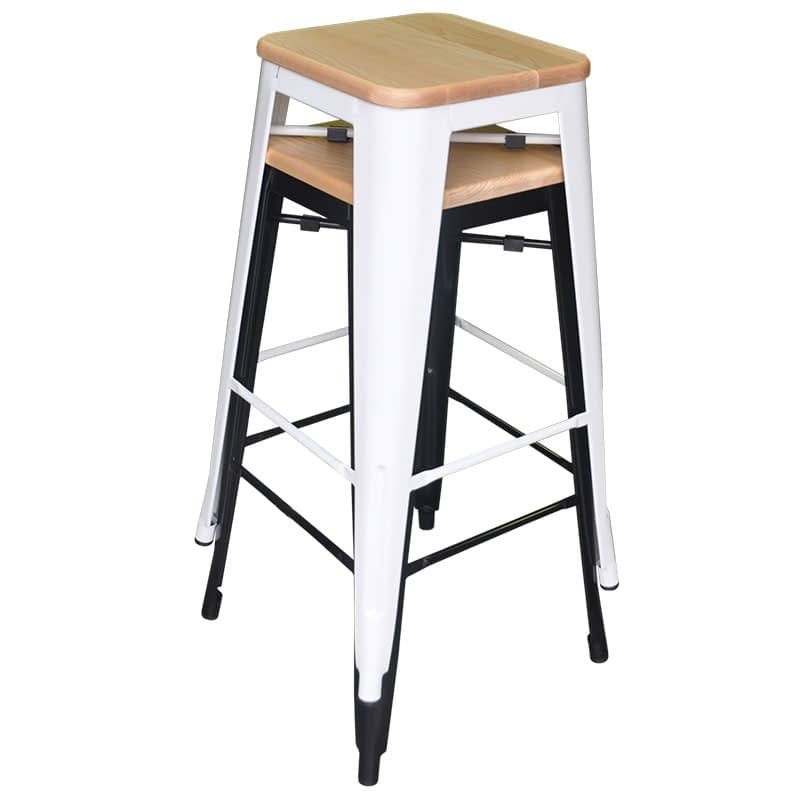 Replica Tolix Bar Stool with Ash Timber Seat, 76cm – 2 colours