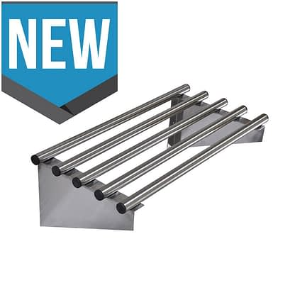 Stainless Pipe Wall Shelf, 600 X 450mm deep-0
