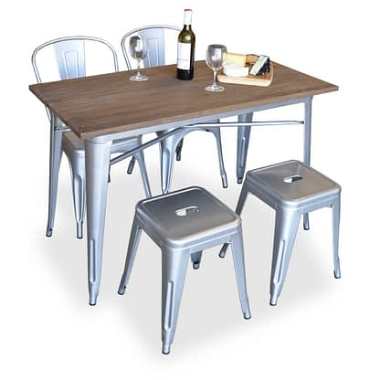 Replica Tolix Wooden Top Table, 120 x 60 x 75cm high, Silver Legs.