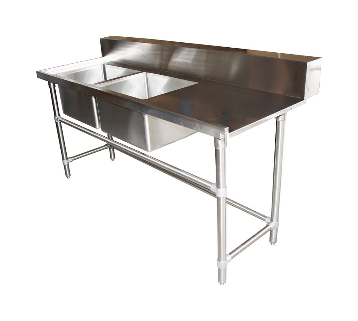 Stainless Double Sink Dishwasher Inlet Bench, Left Configuration 1800 x 700 x 900mm high
