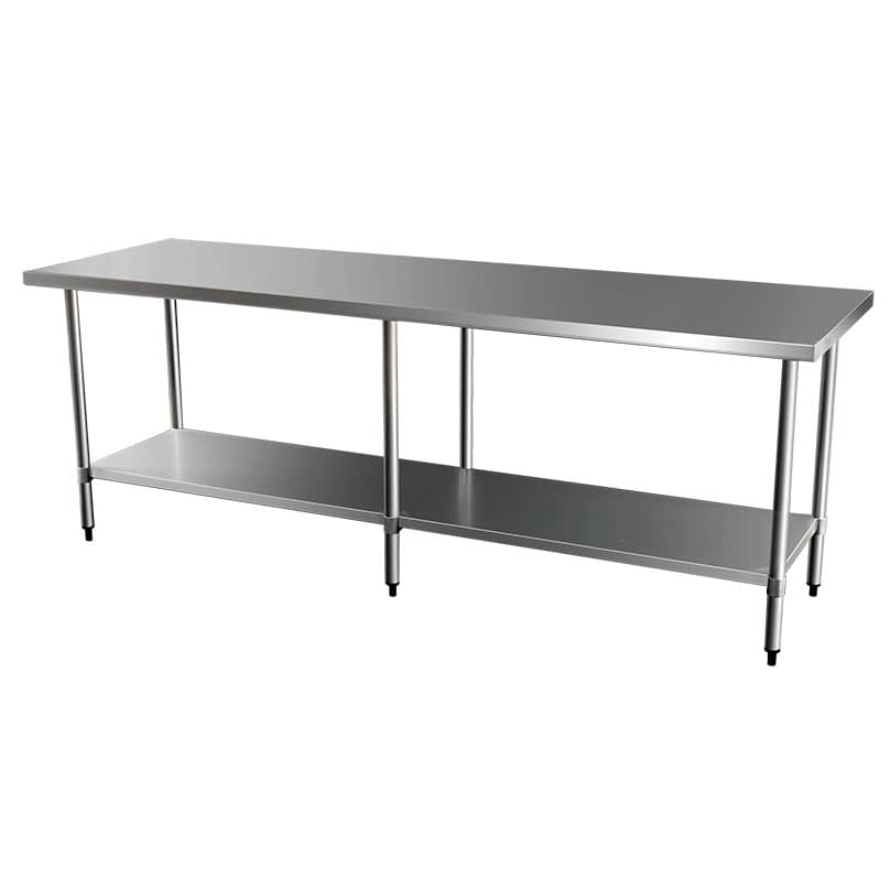 Commercial Grade Stainless Steel Flat Bench, 2438 x 762 x 900mm high