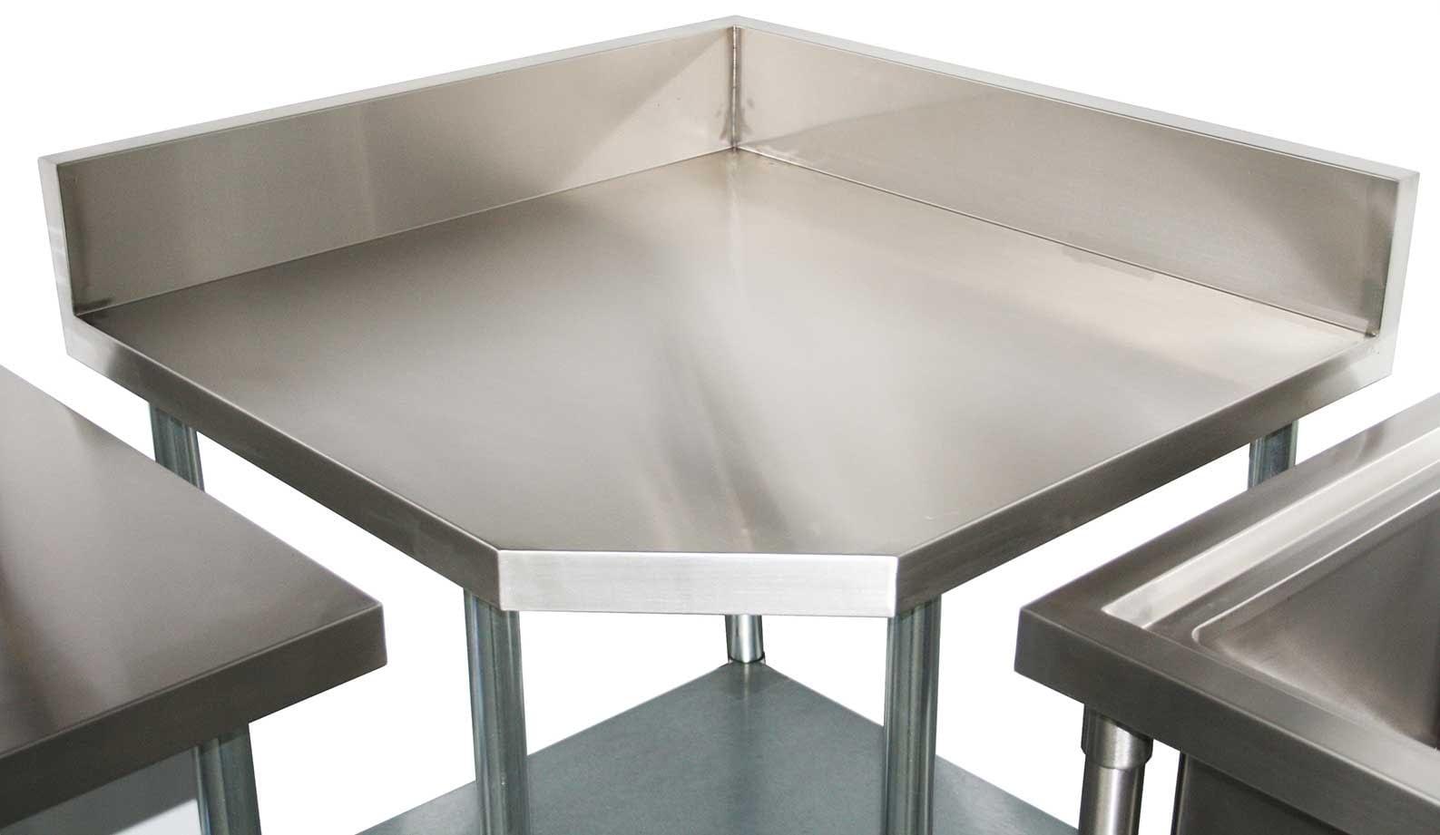 Commercial Grade Stainless Steel Corner 900mm Splashback Bench, 900 x 900 x 900mm high