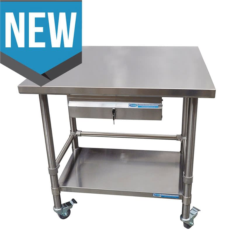 Commercial Grade Stainless Steel Medical Trolley, 762 x 762 x 900mm high