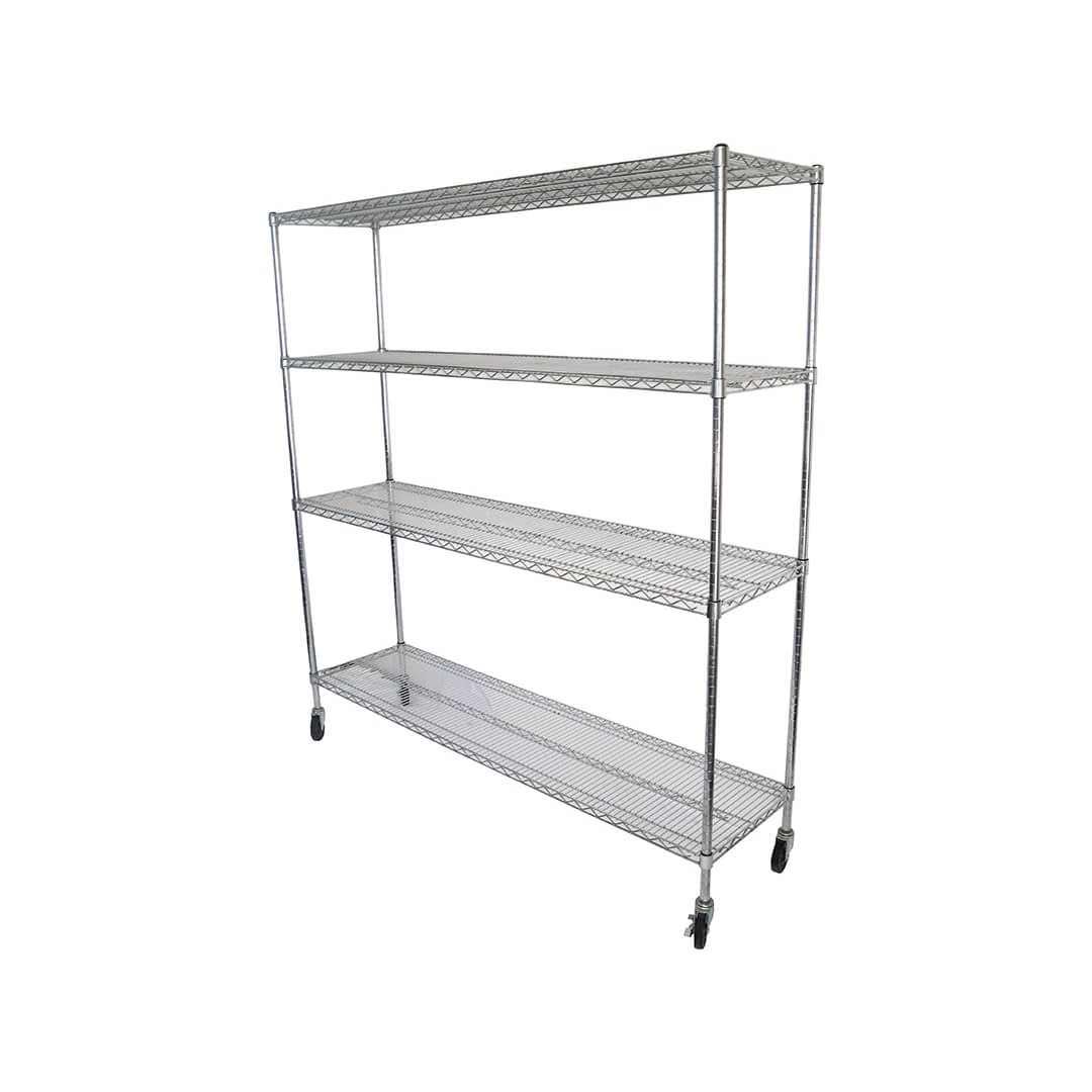 Chrome Wire Dry Store Shelving, 4 Tier, 1829 X 457 deep x 1800mm high