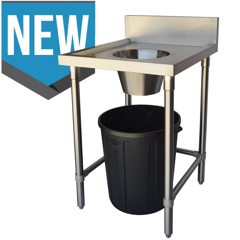 Commercial Grade Stainless Waste Collection Bench with Wide Hole, 600 x 700 x 900mm high