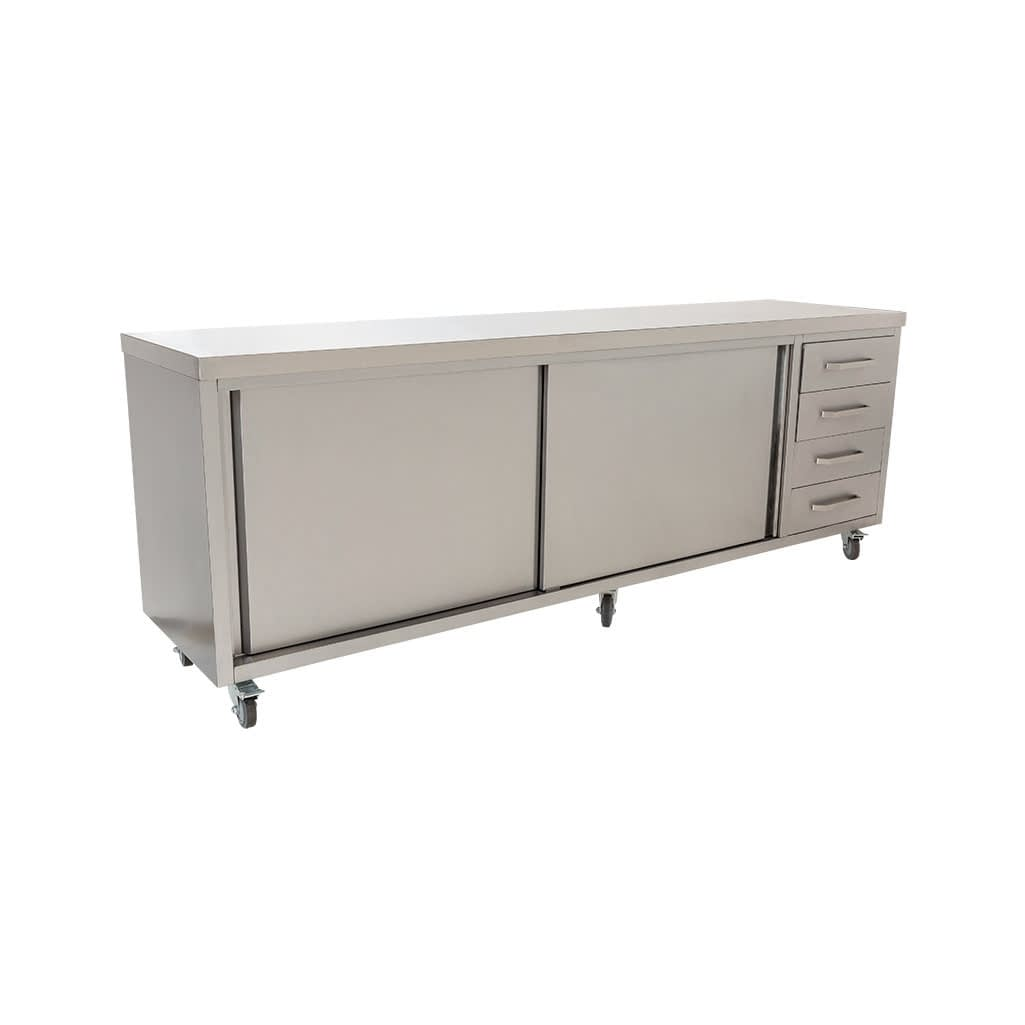 Stainless Commercial Kitchen Cabinet, 2490 x 610 x 900mm high
