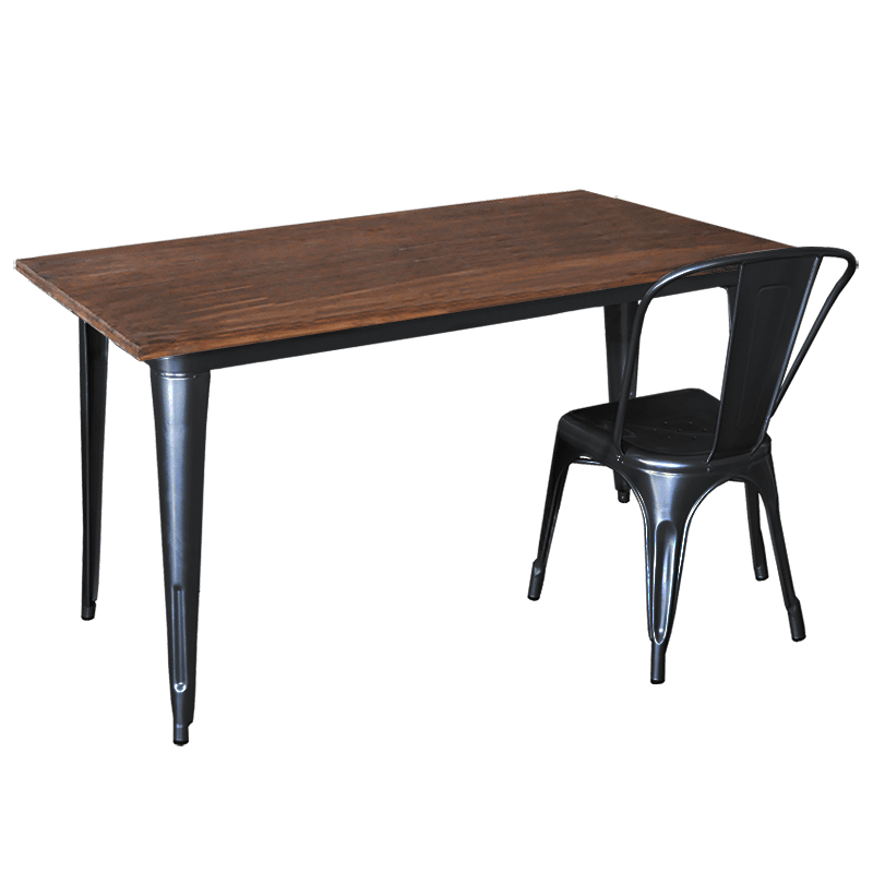 Replica Tolix Wooden Top Table, 140 x 80 x 75cm high, Black Legs.