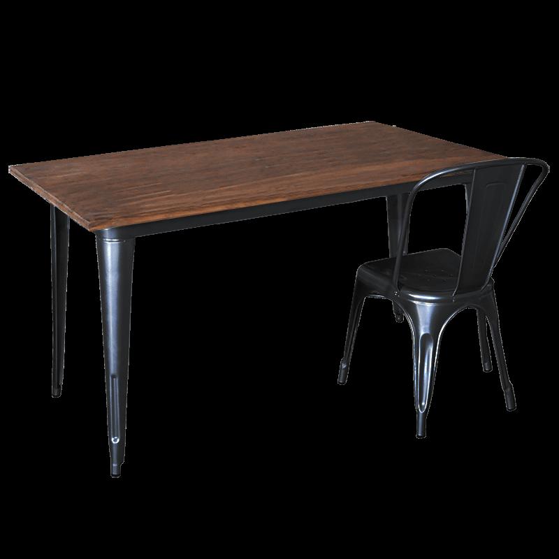 Replica Tolix Wooden Top Table, 140 x 70 x 75cm high, Black Legs.